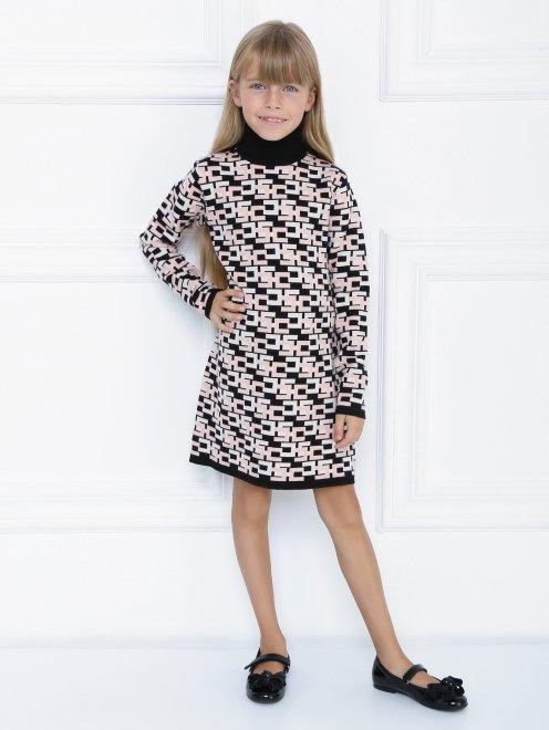 Платье трикотажное с узором - Общий вид