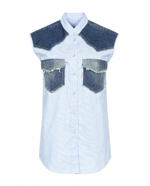 Блуза из хлопка с вставками и карманами  из денима - Общий вид