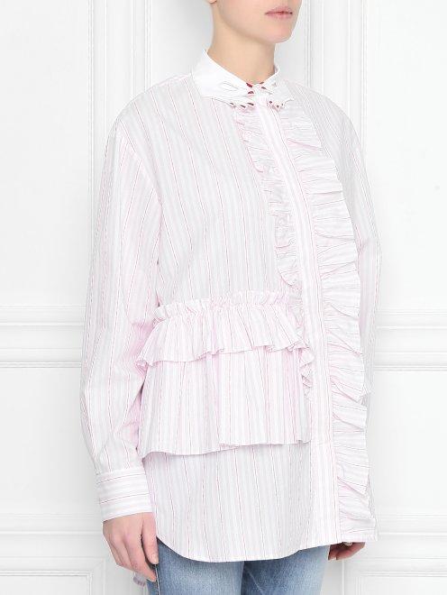 Блуза из хлопка в полоску с оборками - МодельВерхНиз