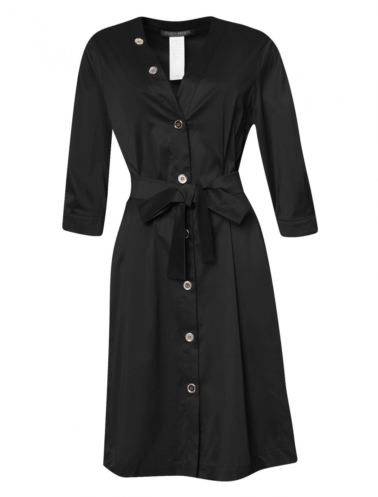 Платье из смешанного хлопка с декоративными пуговицами Marina Rinaldi  –  Общий вид