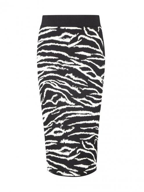 Трикотажная юбка-карандаш с анималистичным узором - Общий вид