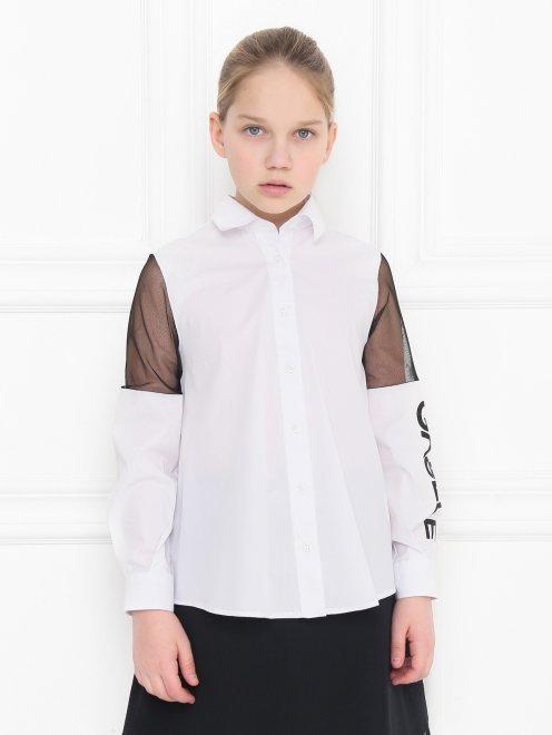 Рубашка хлопковая с вставками из сетки - МодельВерхНиз