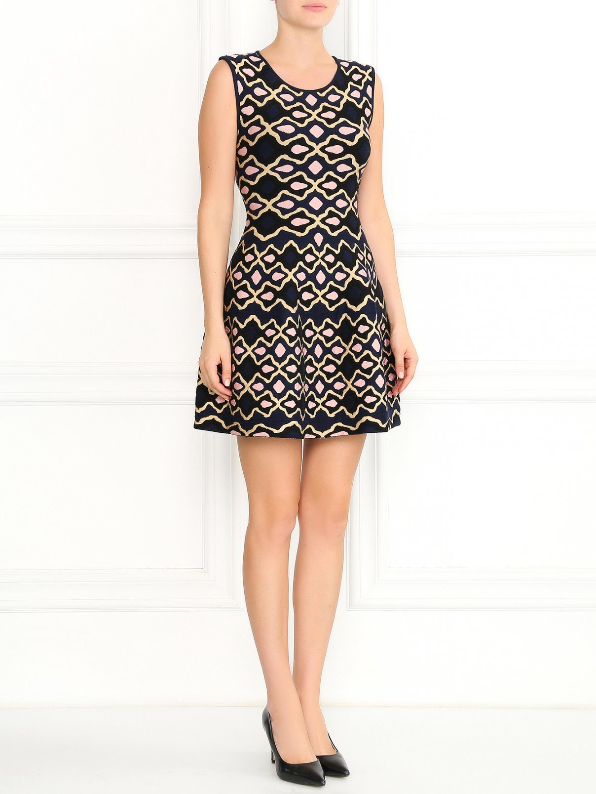 Трикотажное платье-мини с узором GIG Couture  –  Модель Общий вид  – Цвет:  Узор