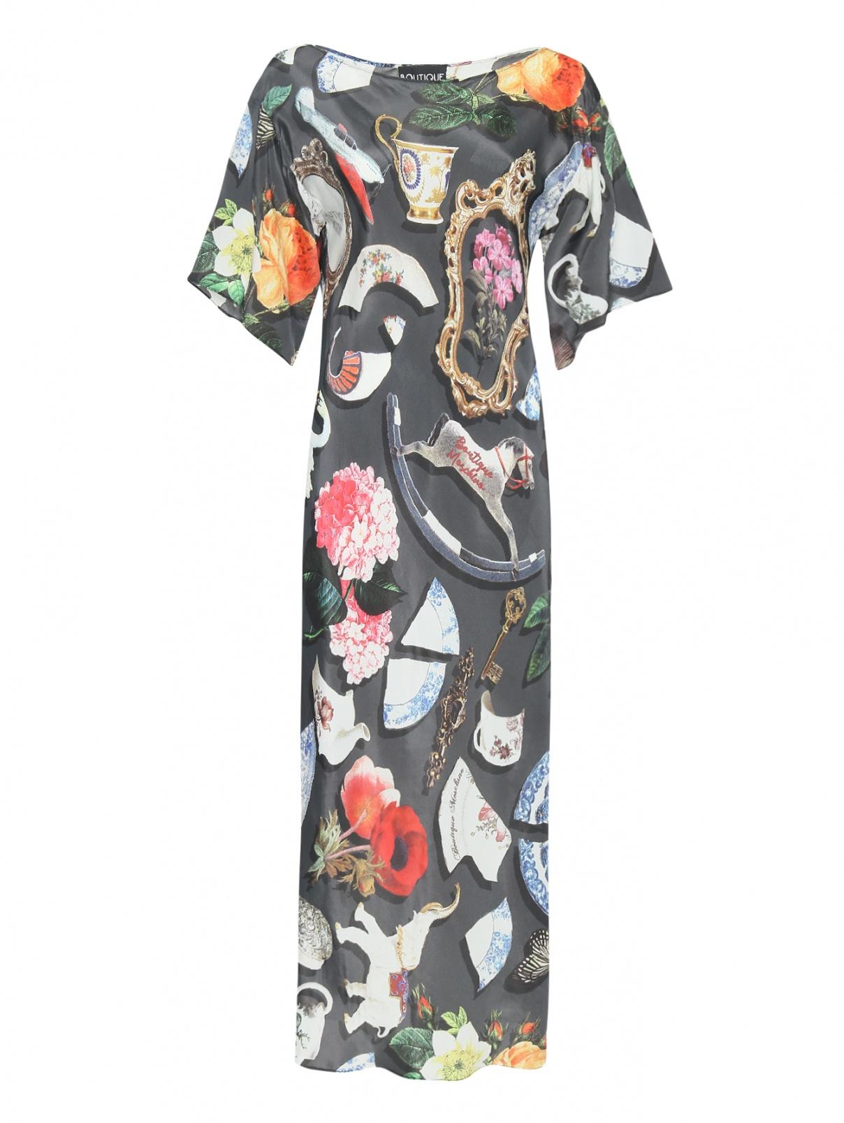 Платье из вискозы и шелка с цветочным узором Moschino Boutique  –  Общий вид