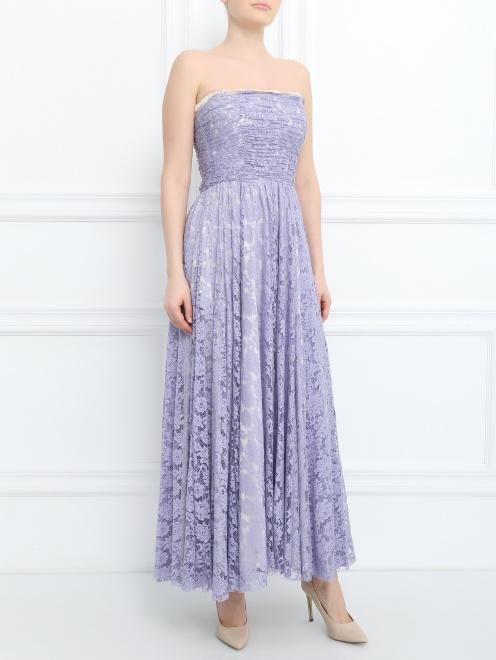 Платье из шелка с кружевным узором - Общий вид