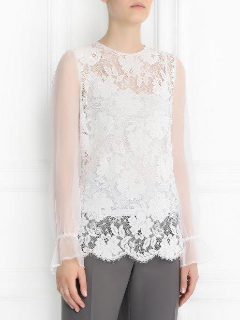 Блуза со вставками из кружева - Модель Верх-Низ