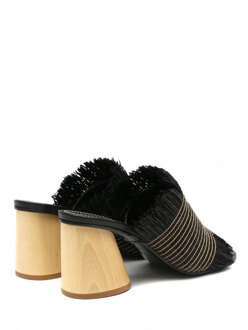 Мули из текстиля на устойчивом каблуке - Обтравка2