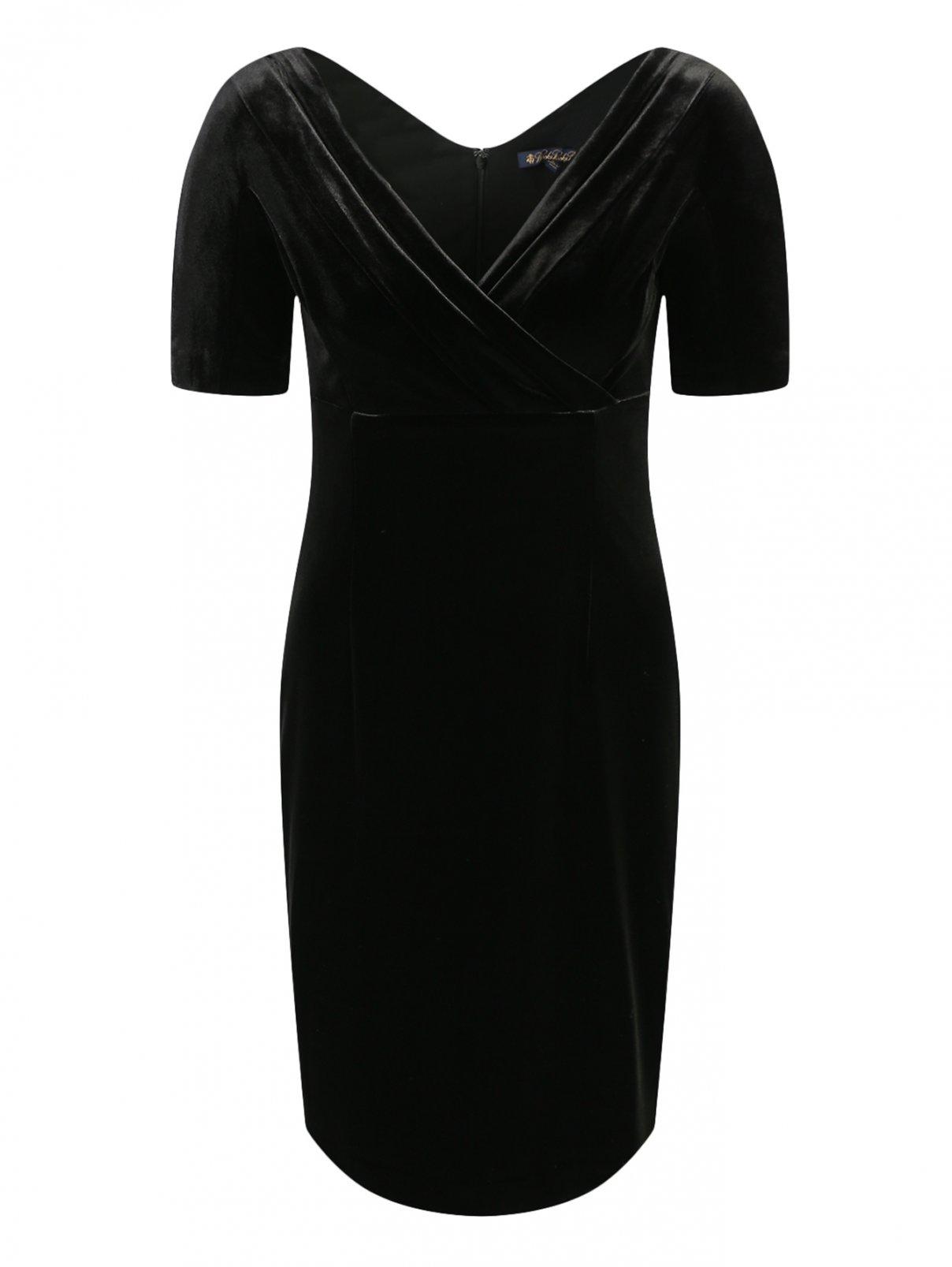 Бархатное платье-футляр с короткими рукавами Brooks Brothers  –  Общий вид