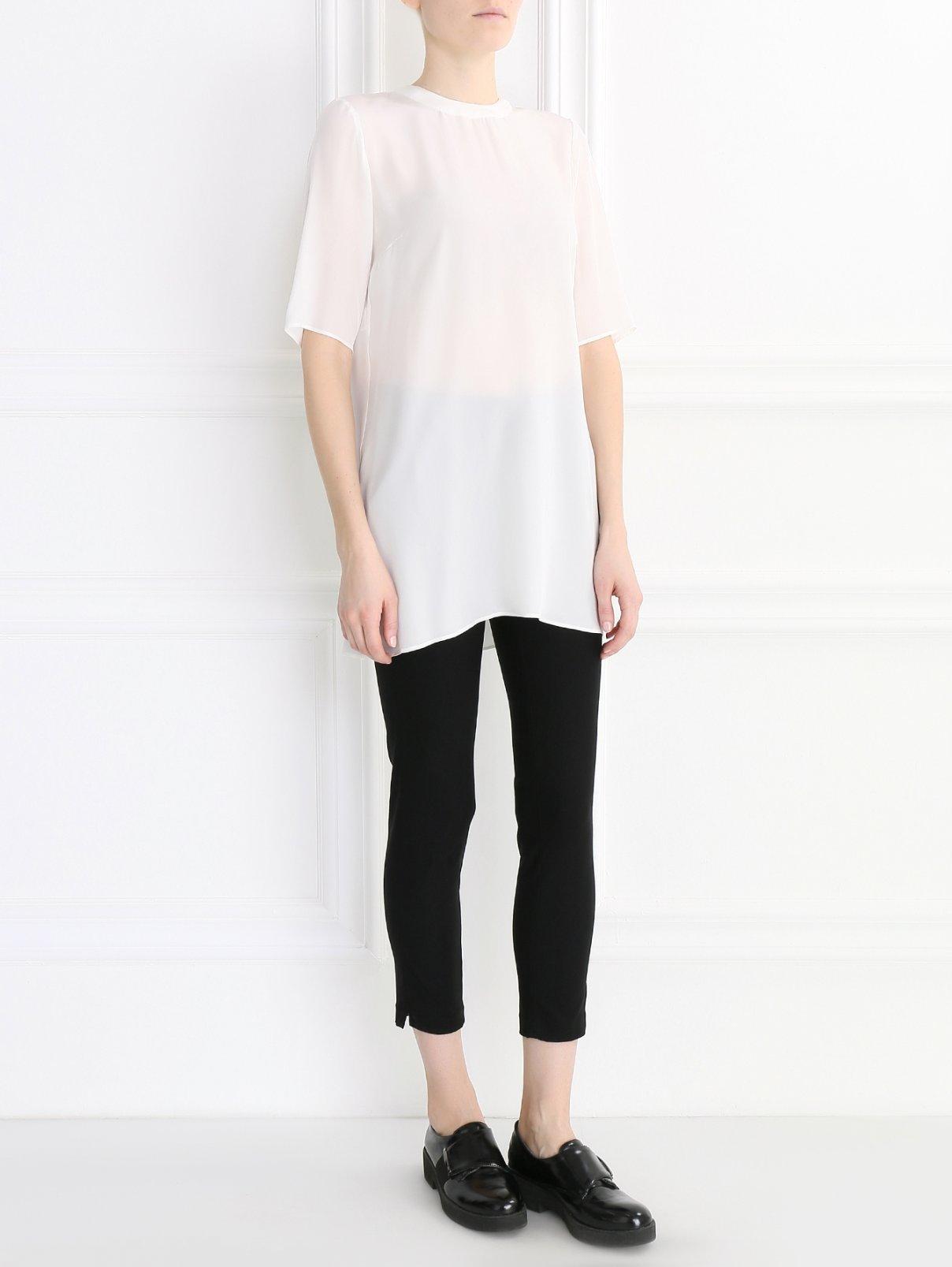 Туника из шелка с декоративной отделкой Rossella Jardini  –  Модель Общий вид  – Цвет:  Белый