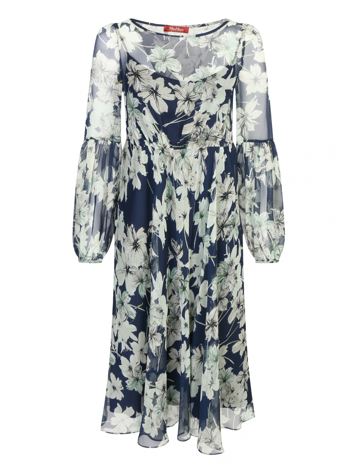 Платье из шелка с цветочным узором Max Mara  –  Общий вид