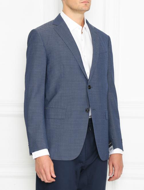 Пиджак однобортный из шерсти и шелка - МодельВерхНиз