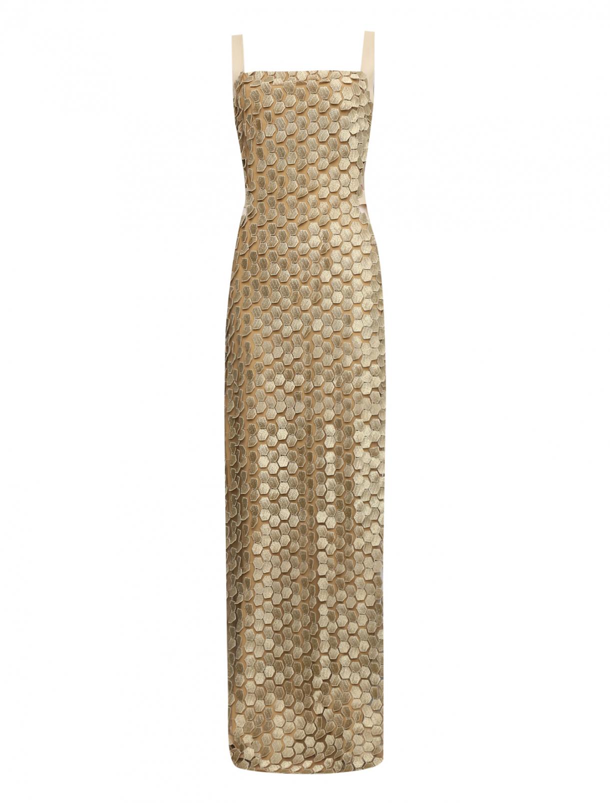 Платье-макси на бретелях из фактурного материала Alberta Ferretti  –  Общий вид