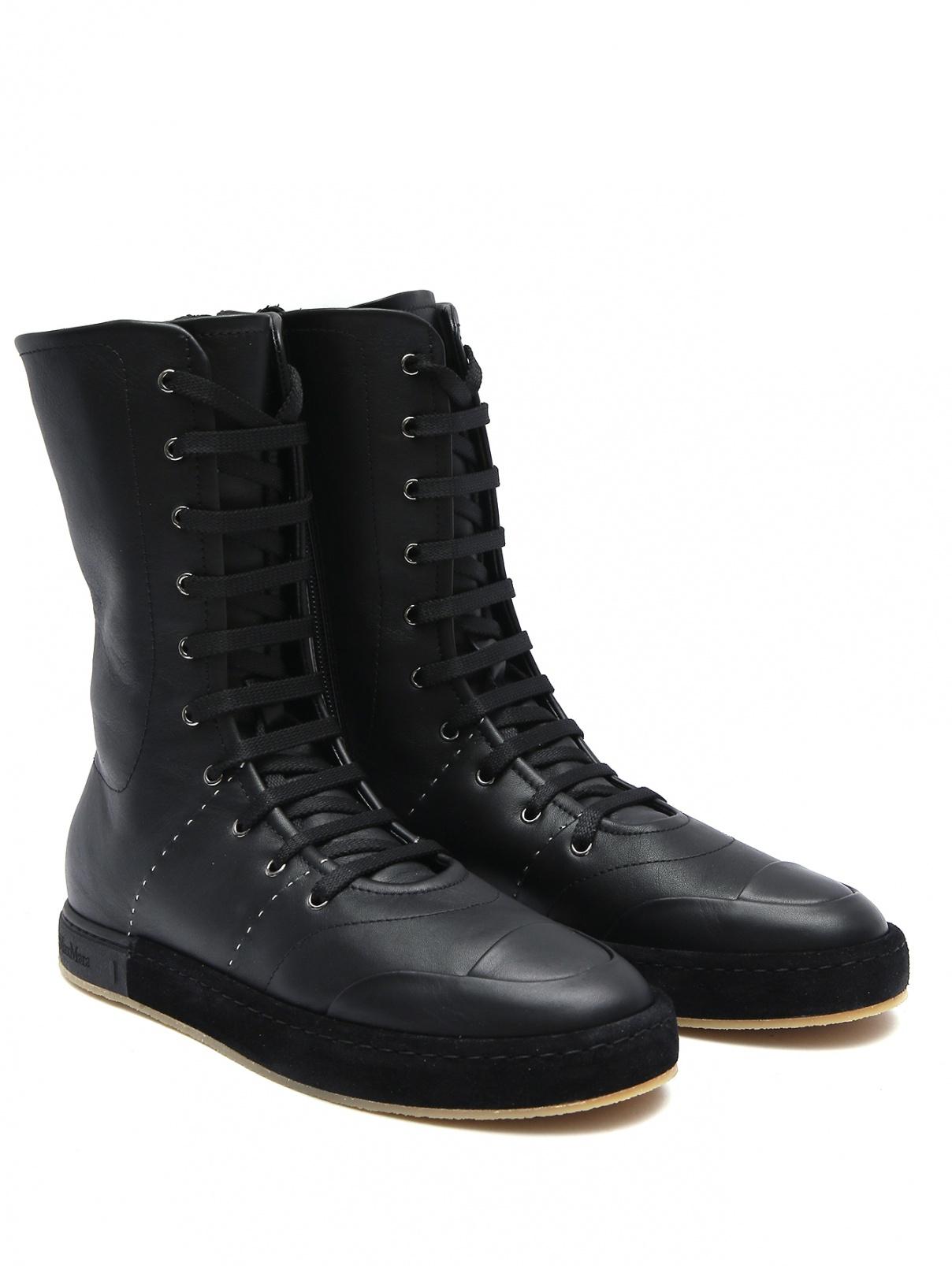 Высокие ботинки из кожи на шнурках Max Mara  –  Общий вид  – Цвет:  Черный