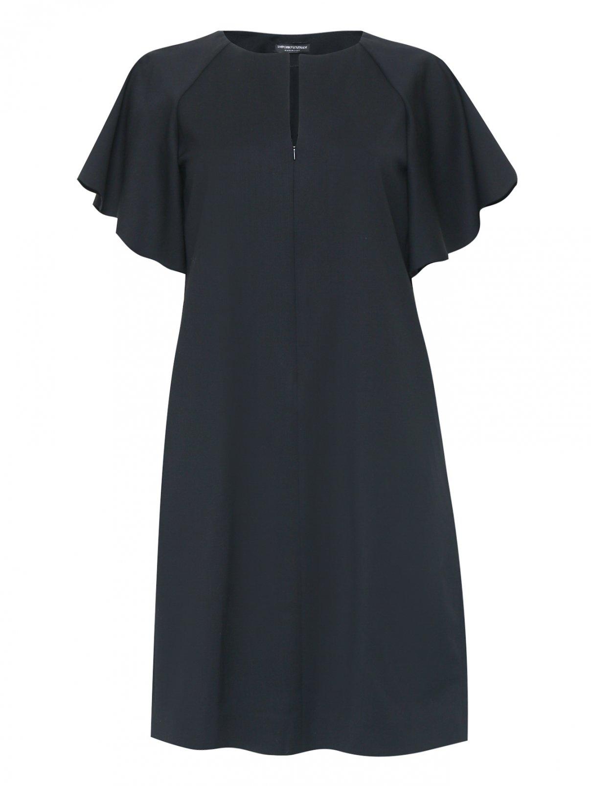 Платье-мини из шерсти свободного кроя с карманами Emporio Armani  –  Общий вид